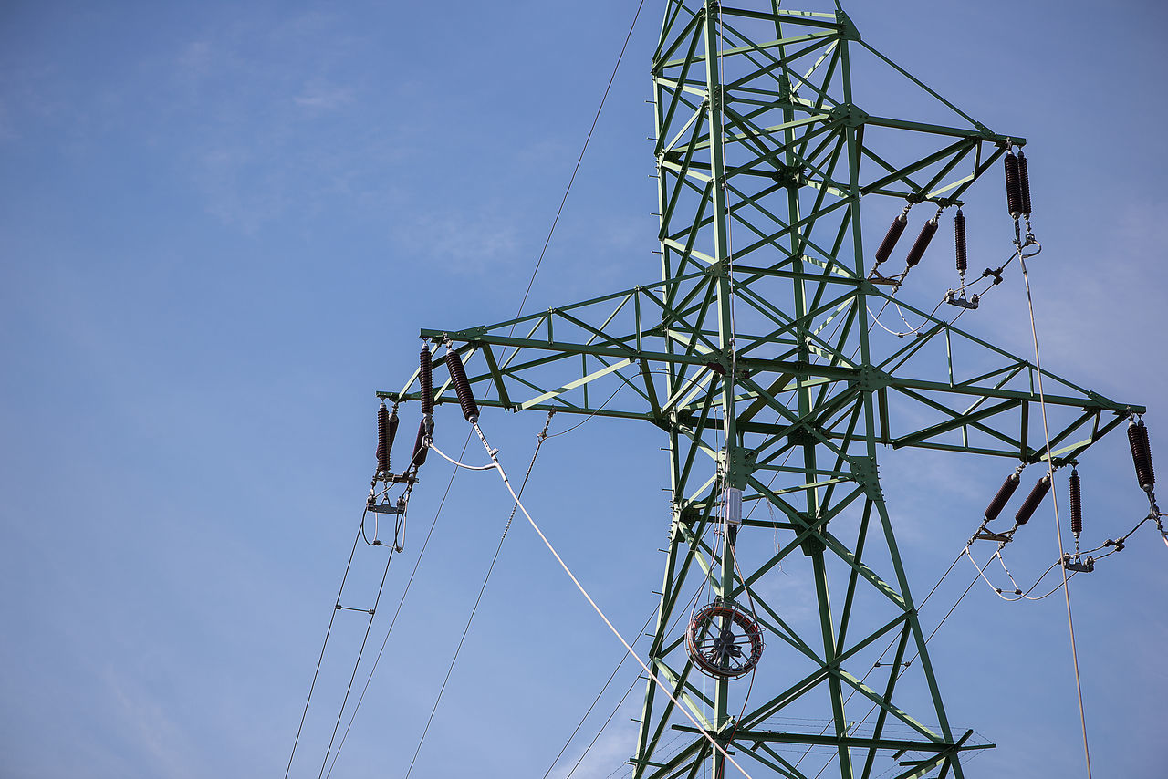 Backgrounds Blue Sky Business Finance And Industry Cable Clear Clear Sky Connection Day Daylight Electricity  Electricity Pylon Fuel And Power Generation Full Frame Horizontal Industrial Background Low Angle View Monopoly No People Outdoors Power Supply Sky Technology