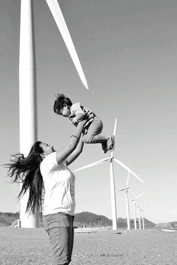 Wind Power Two People Child Togetherness