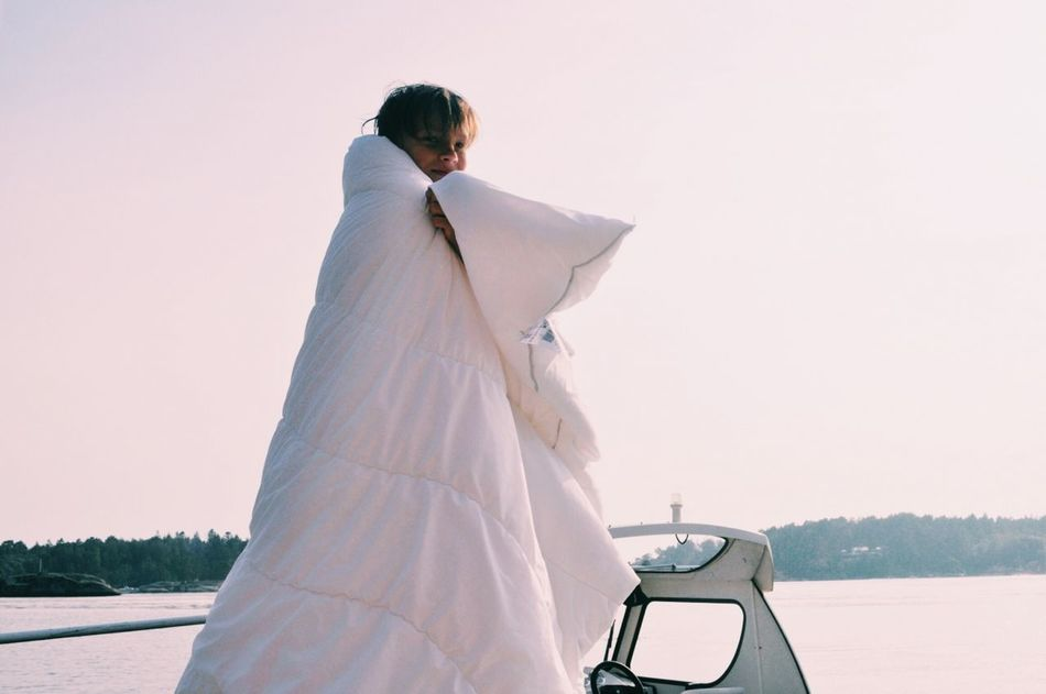 Bride Bridegroom Clear Sky Day Groom Life Events Lifestyles Love Men Nature Outdoors People Real People Rear View Sky Standing Togetherness Two People Wedding Dress Women Young Adult Young Men Young Women