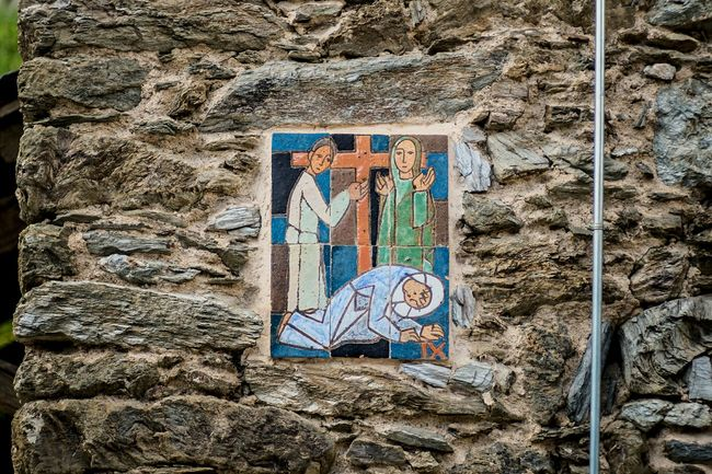 Station 9: Jesus falls the third time Open Edit Stations Of The Cross Color Ceramic Iconoghraphy Stonewall