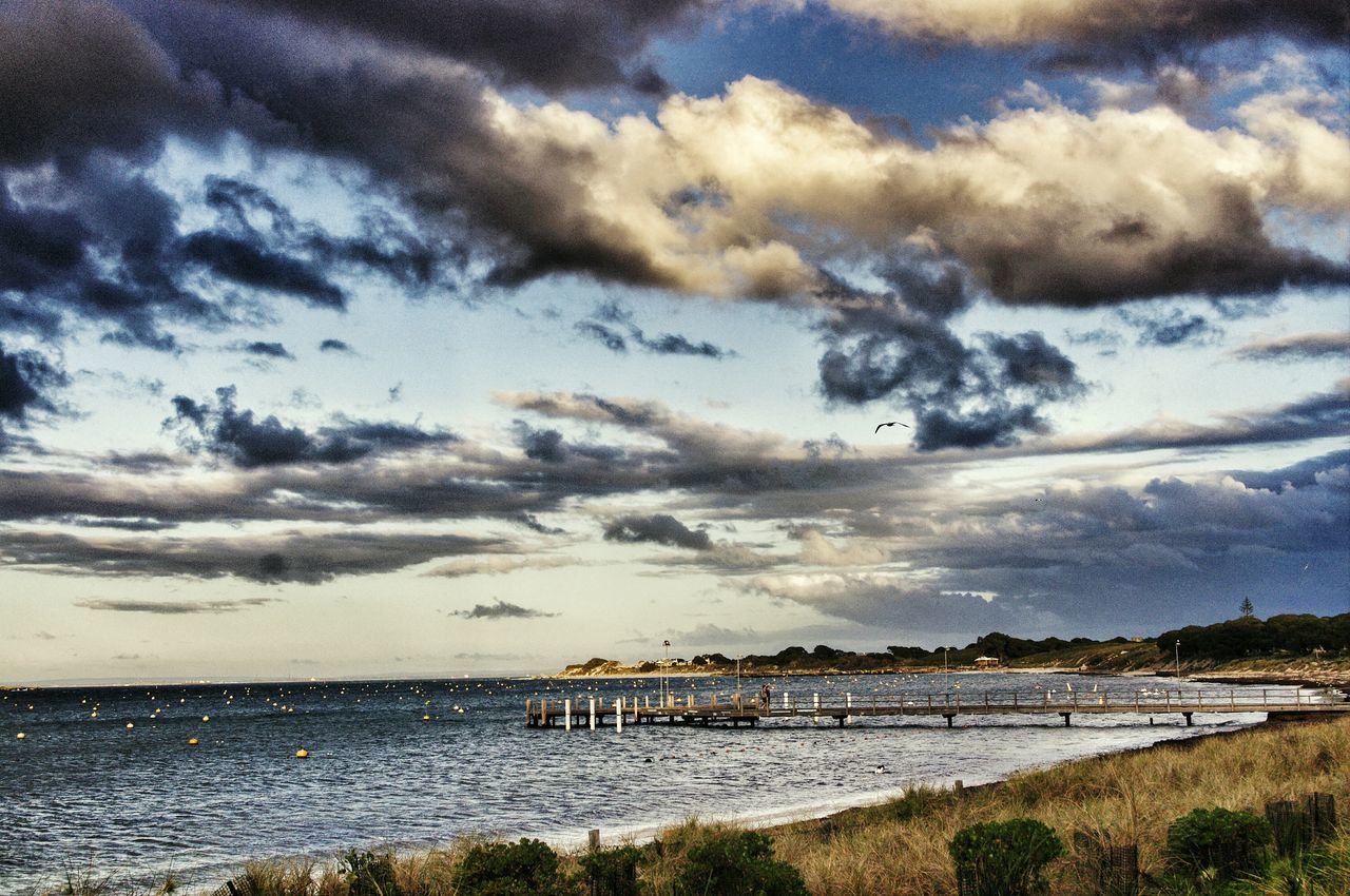 Rottnest island jetty. Recently went on holidays during winter and was able to capture the dark clouds over the ocean with a small ray of sunshine. Rottnest Island Tranquil Scene Horizon Over Water Beauty In Nature Cloud Cloud - Sky Scenics Seascape Jetty Island Rottnest Jetty Beauty In Nature Landscape The Great Outdoors - 2017 EyeEm Awards