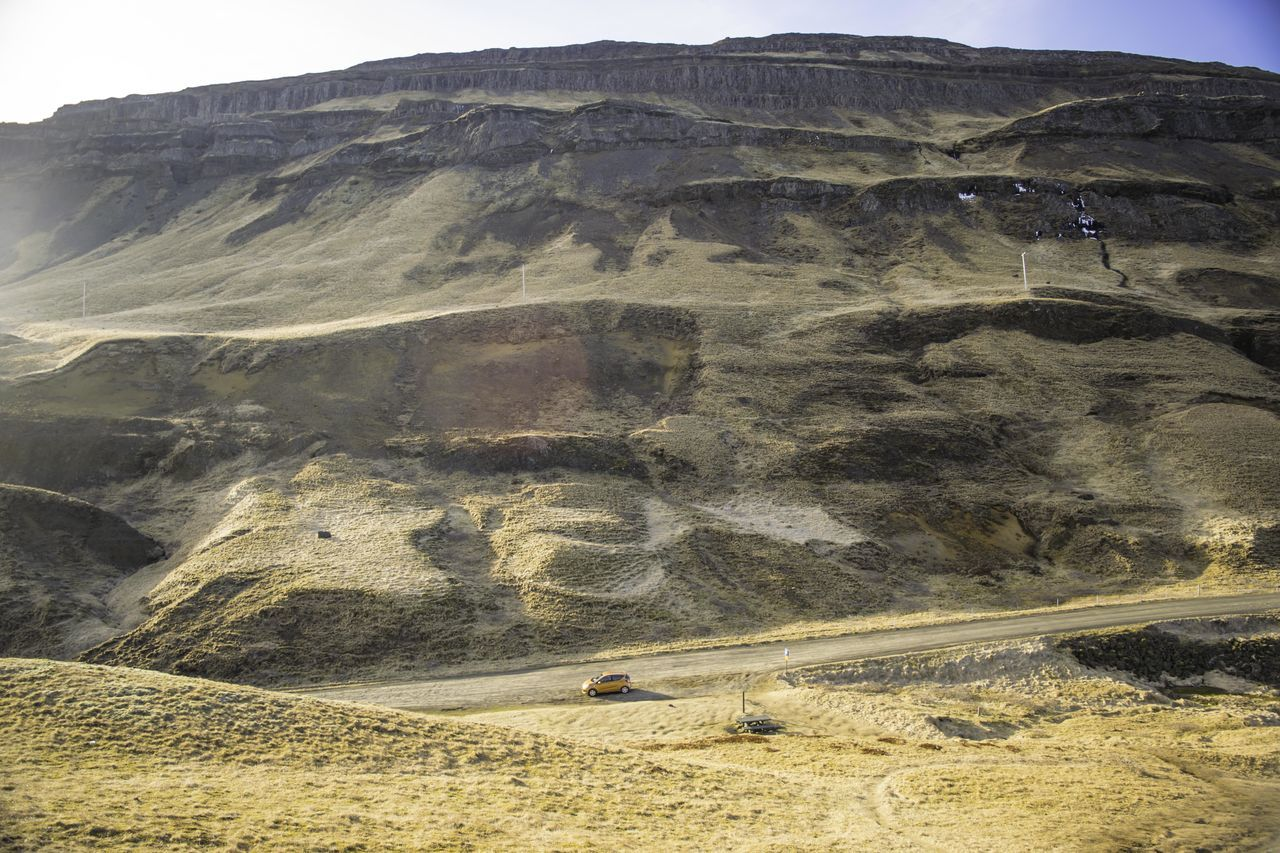 Arid Climate Beauty In Nature Day Desert Iceland Landscape Landscape_Collection Landscape_photography Layers And Textures Mountain Mountain Range Nature No People Outdoors Sand Scenics Sky Small Car