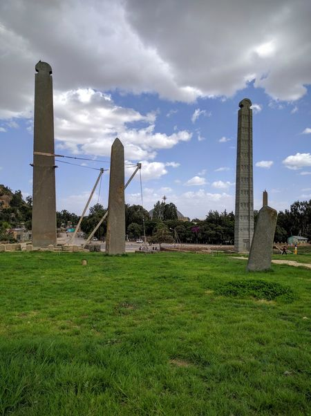 Axum, Ethiopia granite obelisks and the St. Mary's Church that is guarded with the holy grail. Axum Ethiopia Axum Oblelisk Holygrail