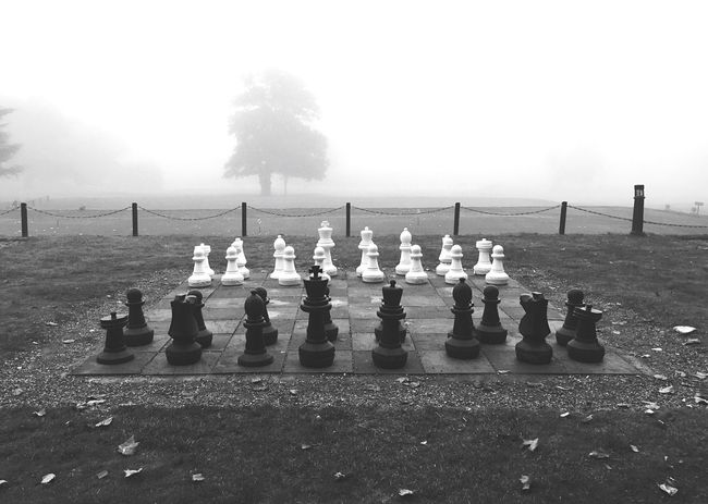 Foggy Chess Chess Chess Board Leisure Games Chess Piece Strategy Outdoors Board Game No People Knight - Chess Piece Pawn - Chess Piece King - Chess Piece Fog