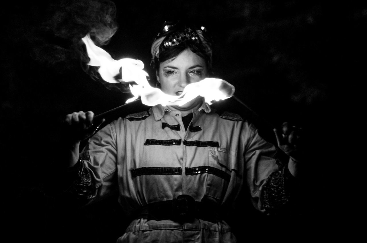My Favorite Photo Glasgow  Scotland Portrait Woman Fire Flame Fire Dancer Black And White Monochrome Intense Front View Girl Power Battle Of The Cities Monochrome Photography