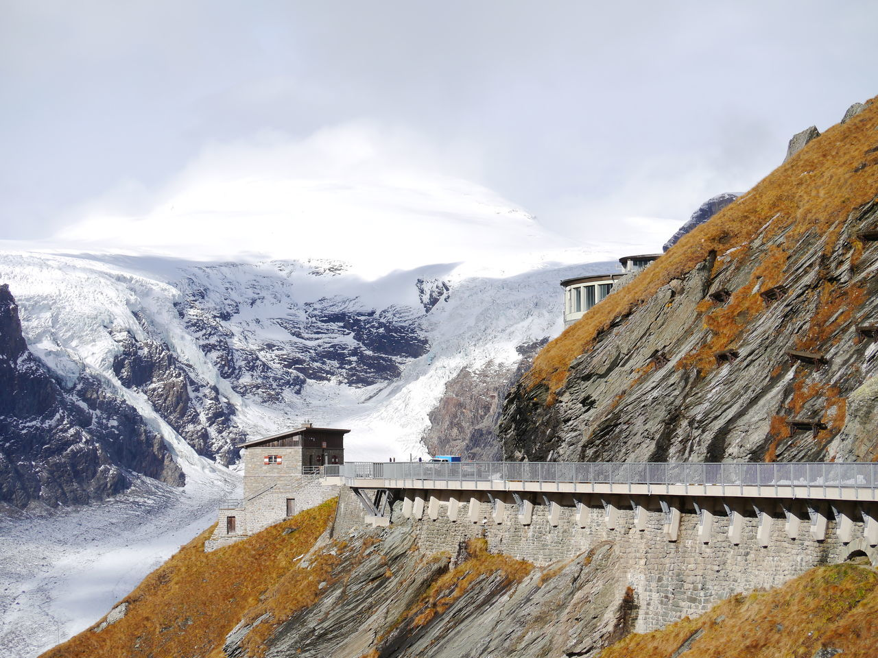 mountain, dam, hydroelectric power, nature, snow, winter, cold temperature, outdoors, day, mountain range, scenics, no people, beauty in nature, cloud - sky, sky, water, architecture