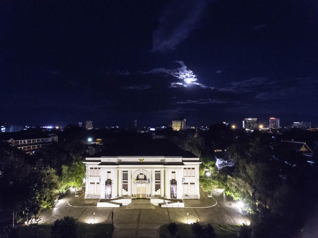 Aerial Photography Aerial Shot Architecture Astronomy Building Exterior Built Structure City Cityscape Dronephotography Illuminated Landmarkbuildings Lightning Midnight Night No People Outdoors Sky Star - Space Travel Destinations Tree