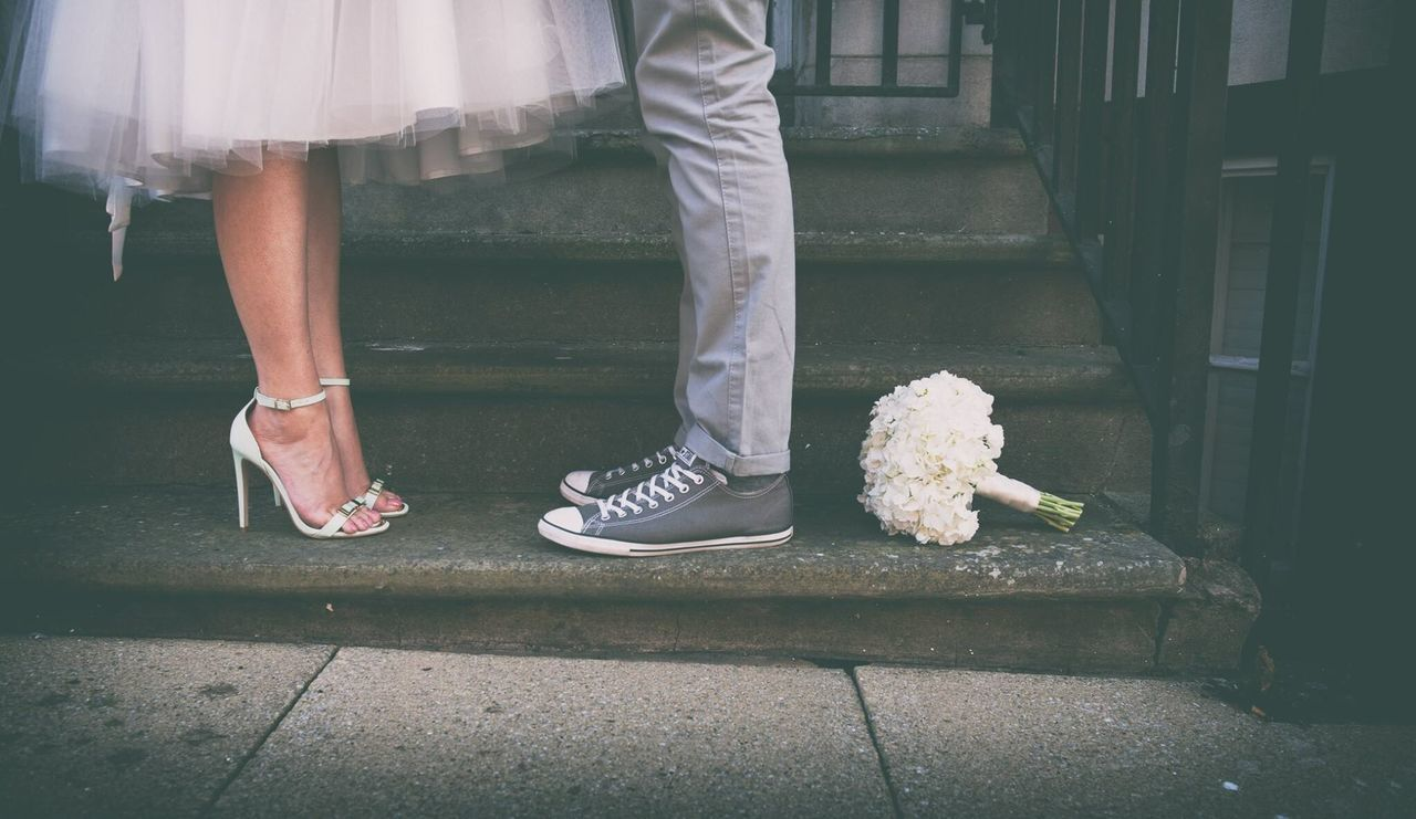 Urban Spring Fever City Wedding Wedding Photography Flowers Bouquet Shoes Feet Urban Bride And Groom Street Photographer-2016 Eyem Awards Two Is Better Than One