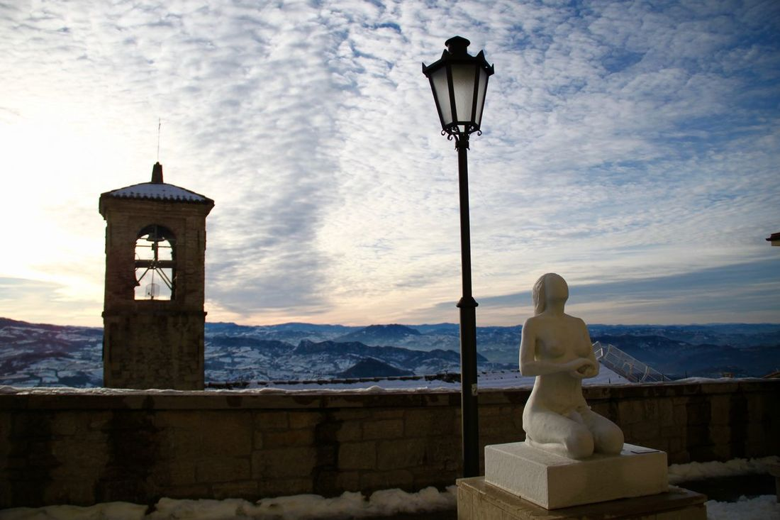 Architecture Day Europe Human Representation Male Likeness Nature No People Outdoors San Marino Sculpture Statue Winter Winter Wonderland Wintertime Monte Titano