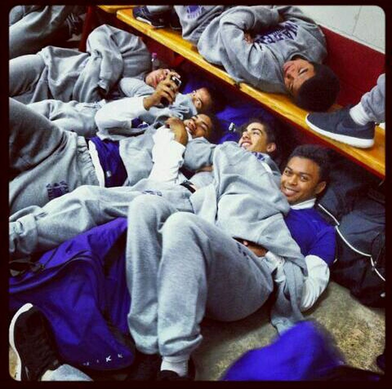 omg our football cuddled up to try & get warm before the game... The Struggle Is Real Football Team Warren Warriors