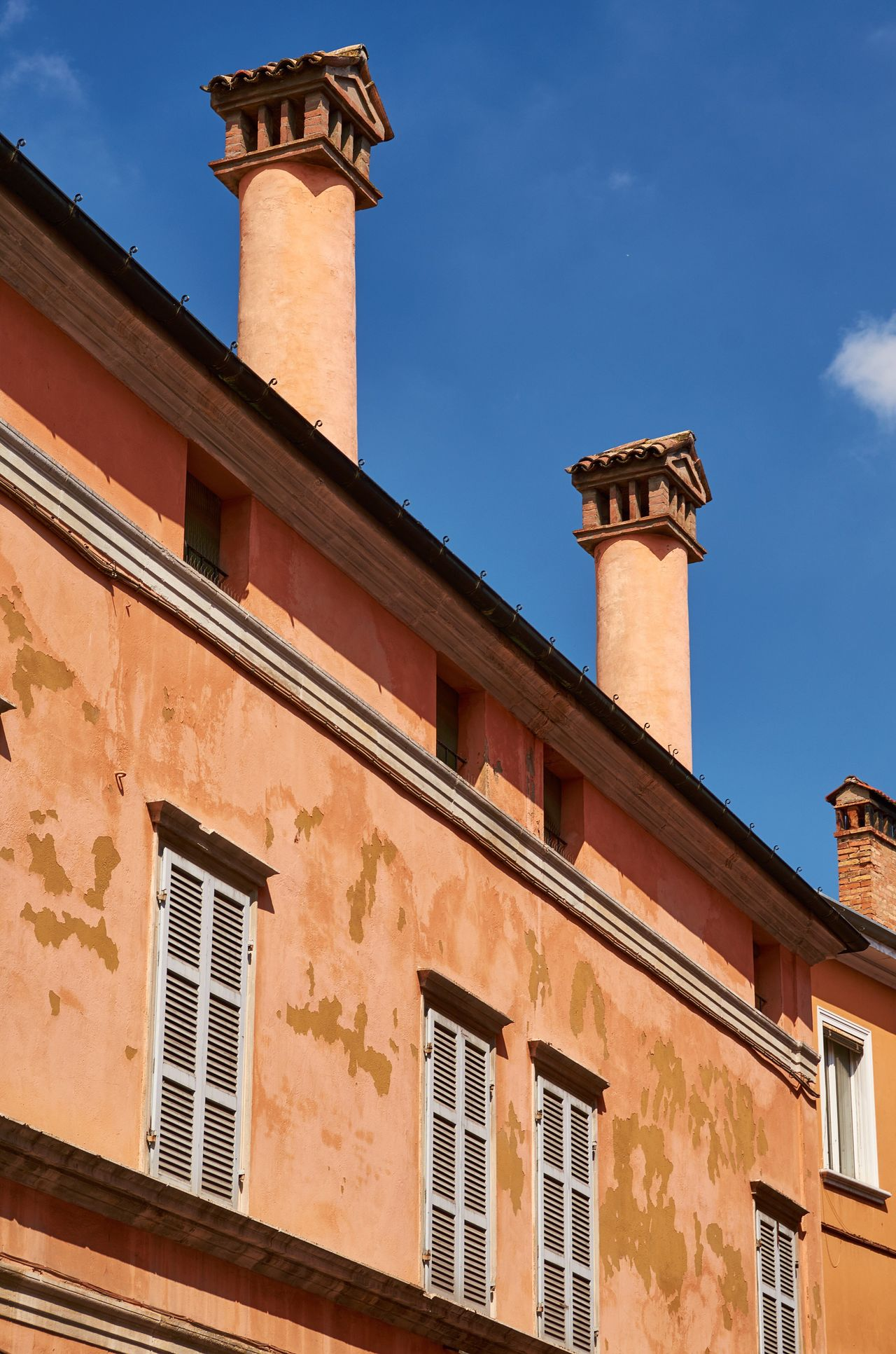 Ravenna Ravenna Italy Façade Building Building Exterior Historic Historical Building Architecture Urban City Blue Sky Textures And Surfaces Windows Chimney No People Built Structure Low Angle View Outdoors Day Vivid Colorful Decay Shutters Weathered