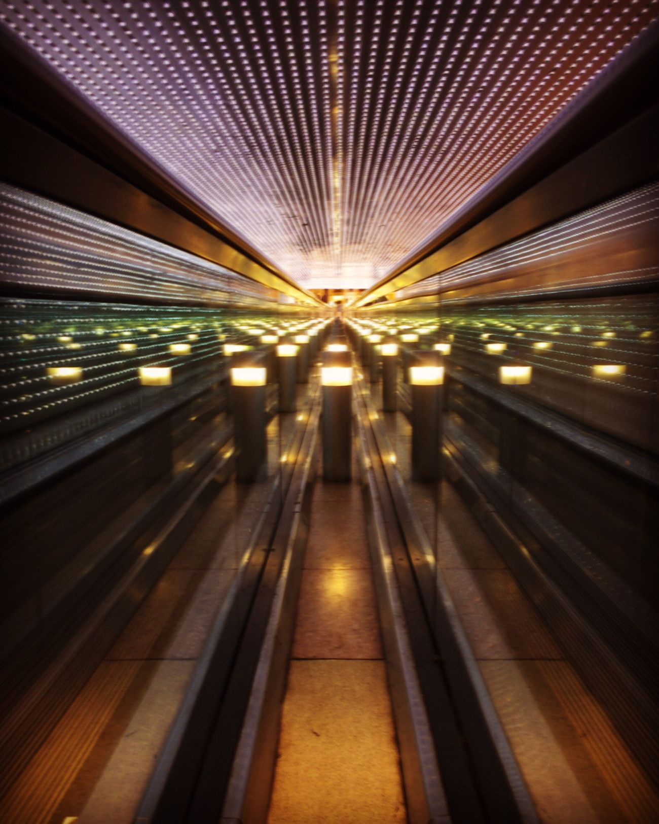 Illuminated Blurred Motion Transportation Motion Speed Long Exposure Indoors  Night No People Moving Walkway  Streetphotography IPhoneography Street Photography JoMo Photo Washington DC National Gallery Of Art Smithsonian Slow Shutter Multiverse Leo Villareal