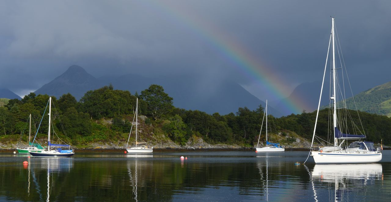 Loch  Loch Leven Masts Peace And Quiet Peaceful Peaceful Place Peaceful View Rainbow Rainbow Colors Rainbow Sky Scotland Scottish Highlands Serenity Water Water Reflections Water_collection Yacht Yachts