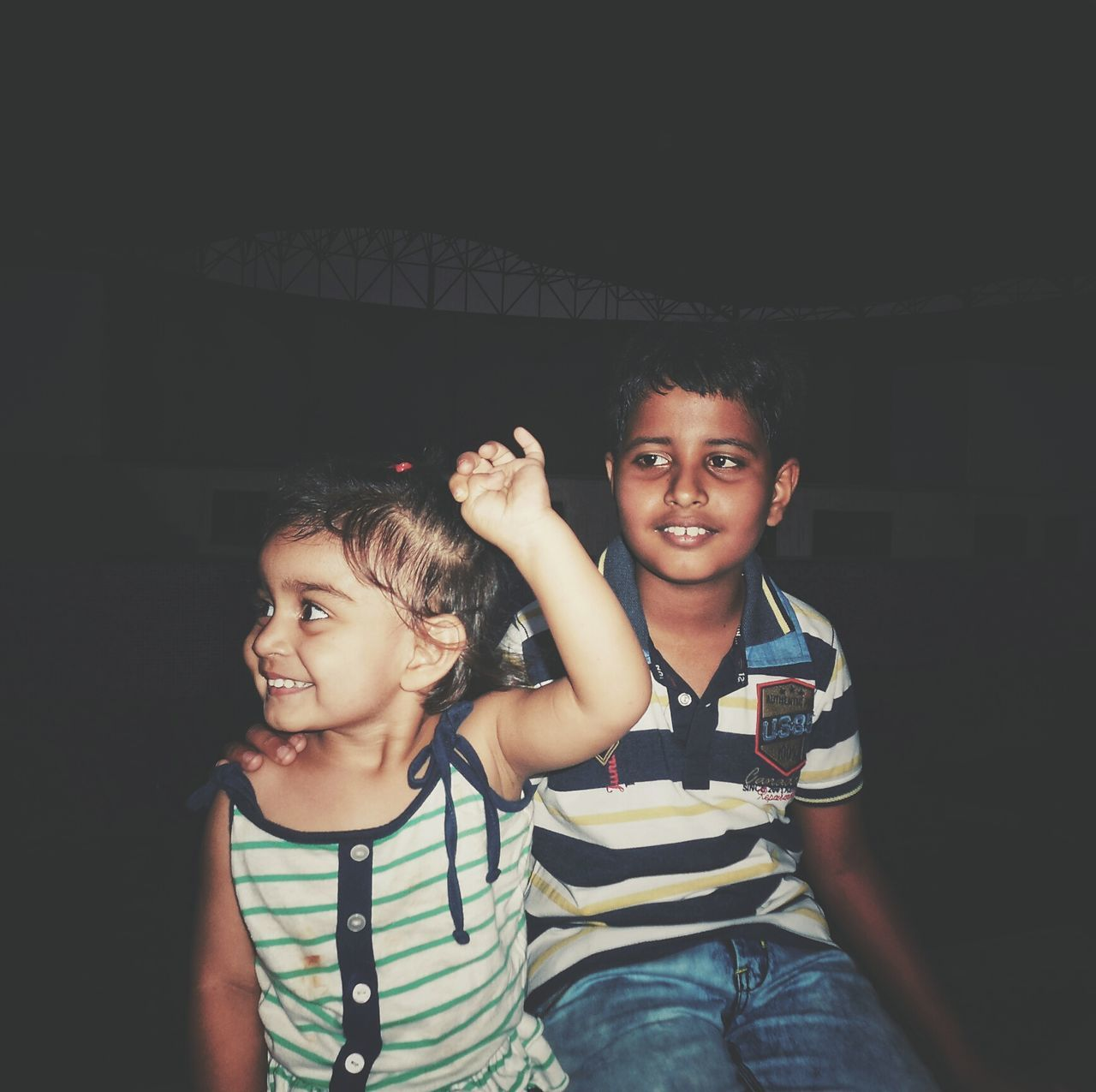 Two People Happiness Child Portrait Smiling Looking At Camera Friendship Lifestyles Cheerful Togetherness Night People Fun Leisure Activity Young Adult Females Childhood Young Women Real People Indoors  Awesome Day Awesome_shots AWESOME!!