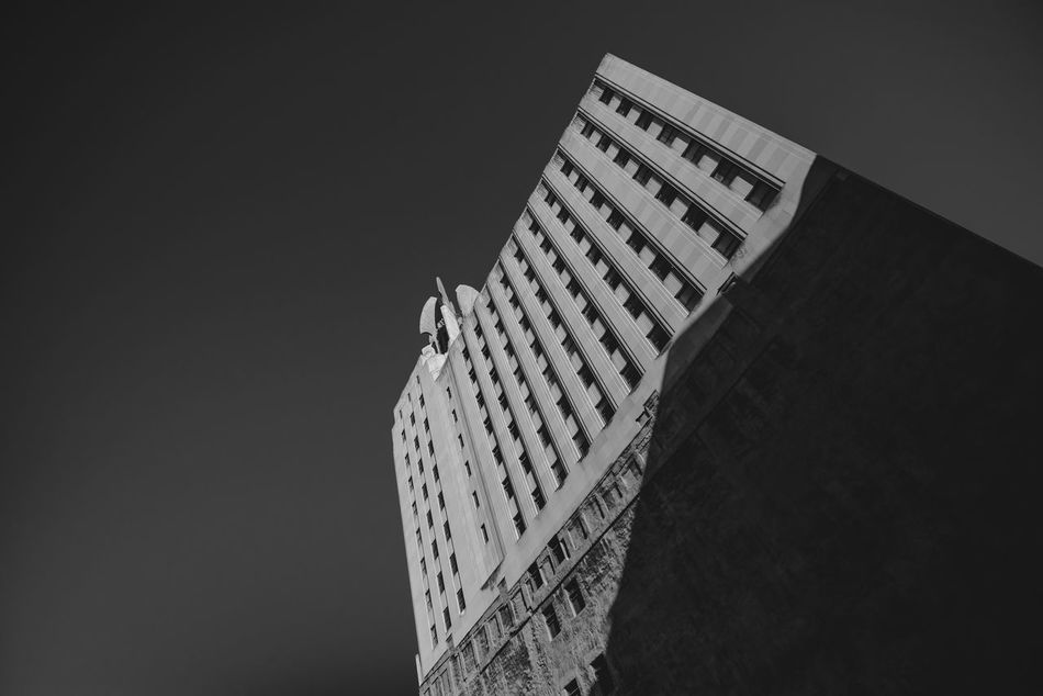 Architectural Design Architecture Art Deco Available Light Photography Black And White Built Structure City Clear Sky Low Angle View Monochrome No People Rochester, NY Shadows Sky Skyscraper Skyscrapers The City Light Times Square Building Wide Angle