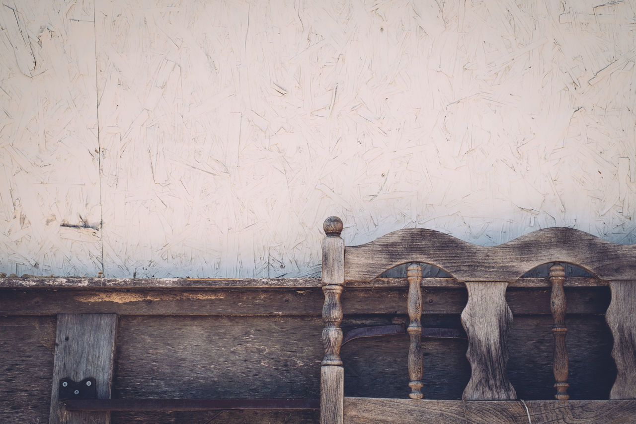 Architecture Bed Frame Built Structure Close-up Day Low Angle View Muted Colors No People Outdoors Wall Wooden
