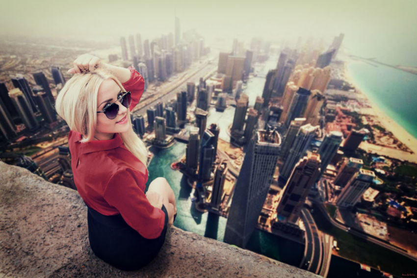 Adult Adults Only Architecture Building Exterior Built Structure City City Life Cityscape Day One Person One Woman Only Only Women Outdoors People Portrait Rear View Sky Sunglasses Urban Skyline Young Adult