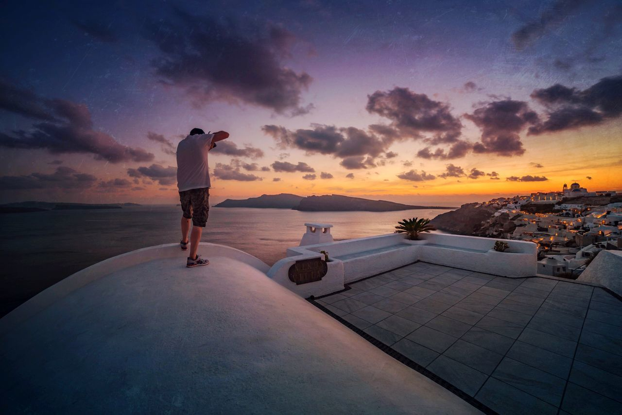 Summer Snapping Sunset Sea One Person Sky Cloud - Sky Real People Full Length Standing Horizon Over Water Lifestyles Water Outdoors Vacations Scenics Men Architecture Nature Beauty In Nature Day One Man Only The Great Outdoors - 2017 EyeEm Awards Landscape_Collection Greece Santorini Oia Santorini