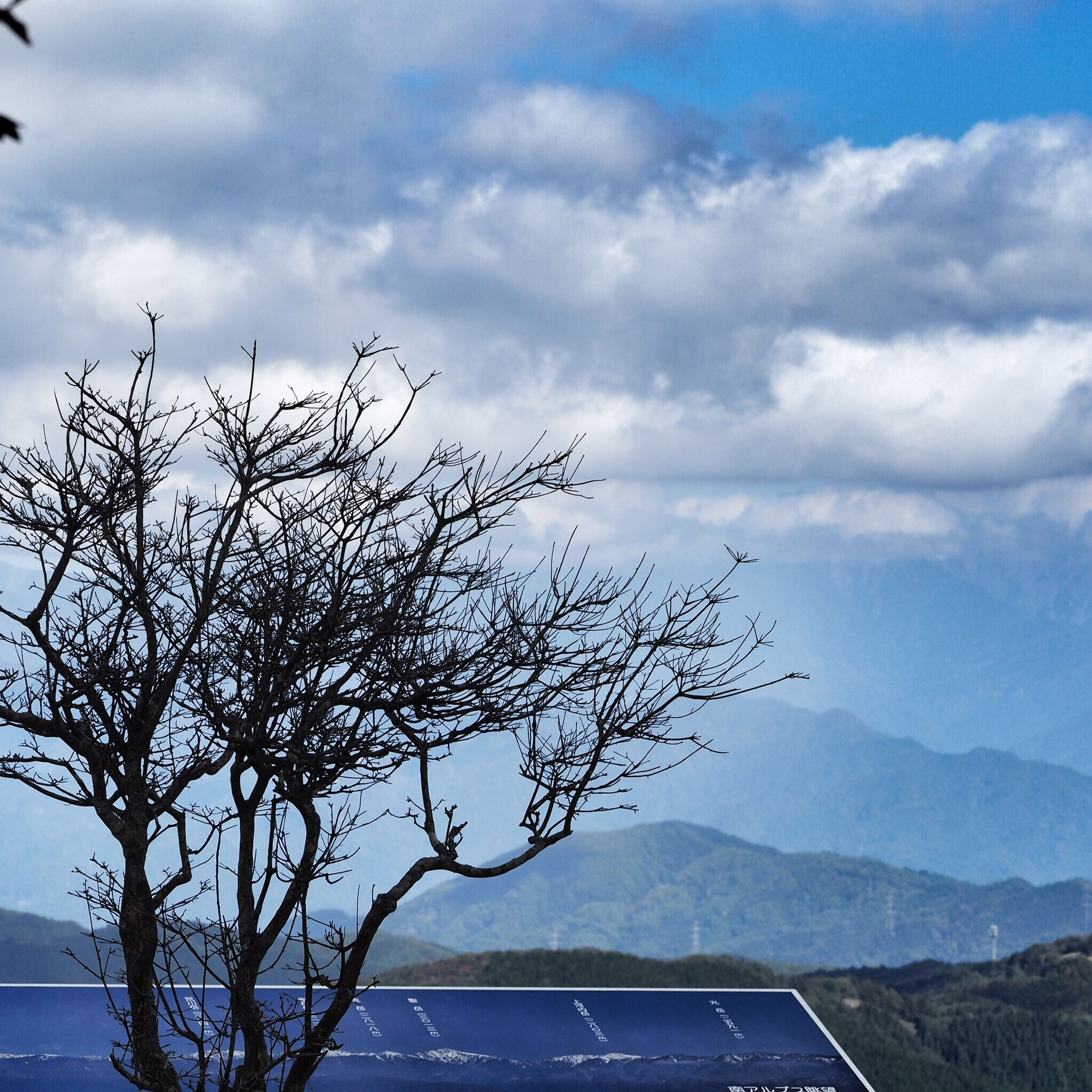 sky, bare tree, mountain, tranquility, tranquil scene, cloud - sky, scenics, mountain range, beauty in nature, landscape, nature, branch, tree, cloudy, cloud, non-urban scene, outdoors, no people, day, weather