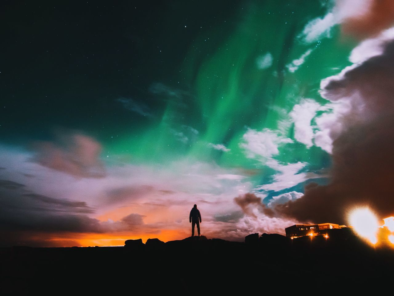 People And Places Iceland Northern Lights Lights Night City Reykjavik Kevlavik Cloud Chaotic Red Green Night Lights Nightphotography Starry Sky Full Moon Overnight Success My Year My View