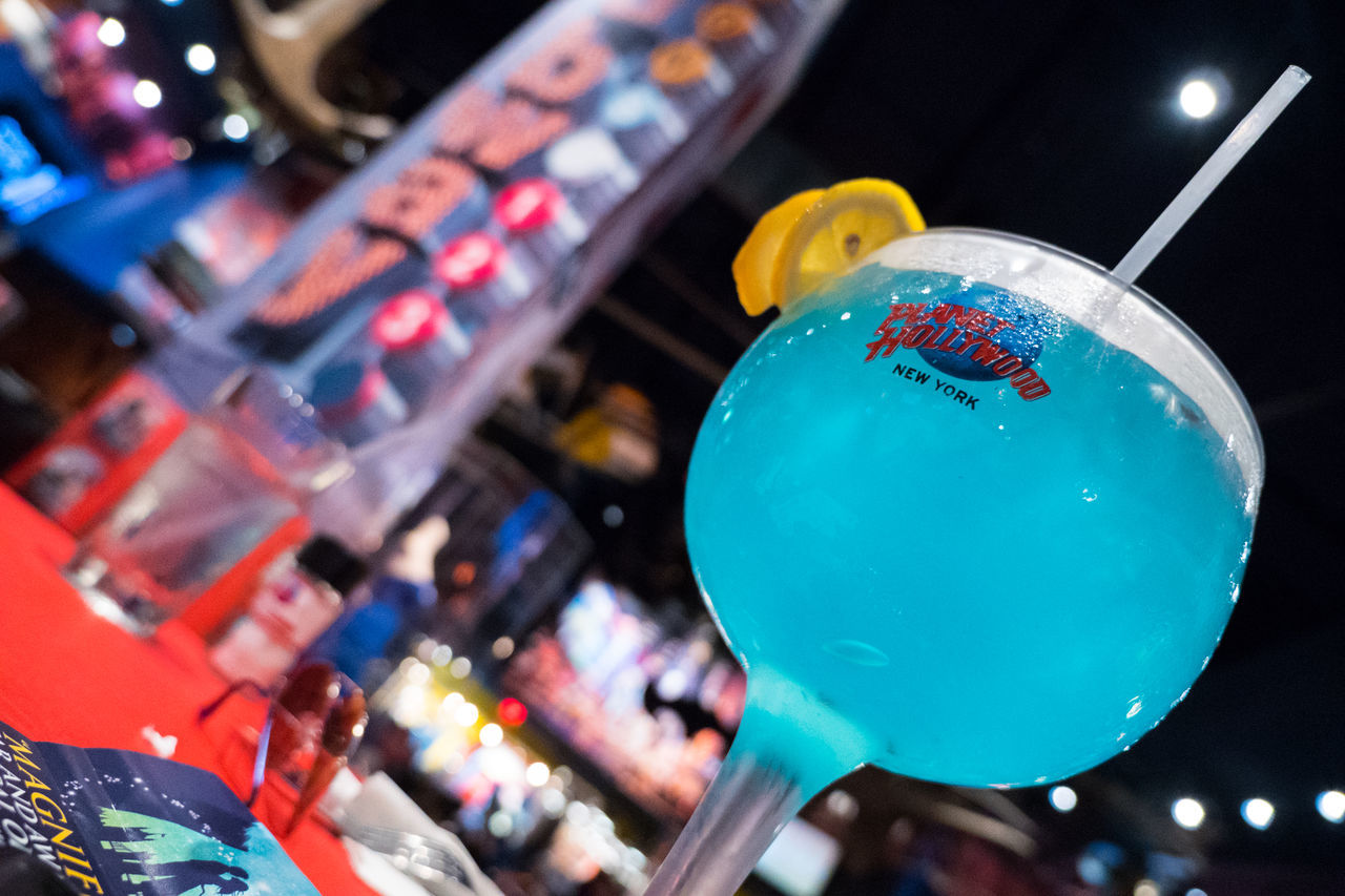 Cocktail, Planet Hollywood. Alcohol Blue Celebration Close-up Cocktail Drink Illuminated Indoors  New York Night Planet Hollywood