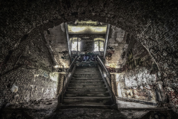 Decay La Chartre Abandoned Ancient Civilization Architecture Built Structure Cave Day Illuminated Indoors  Low Angle View No People Old Ruin Staircase Steps Steps And Staircases The Way Forward Tunnel
