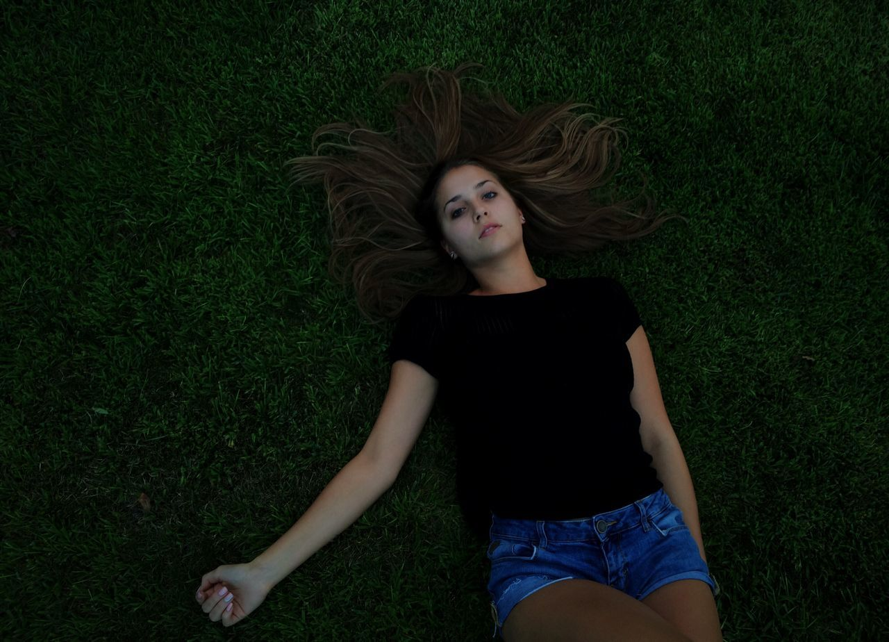 Green Color Laying On Grass Everything Happens For A Reason  Vision Believe Girl Freedom Life