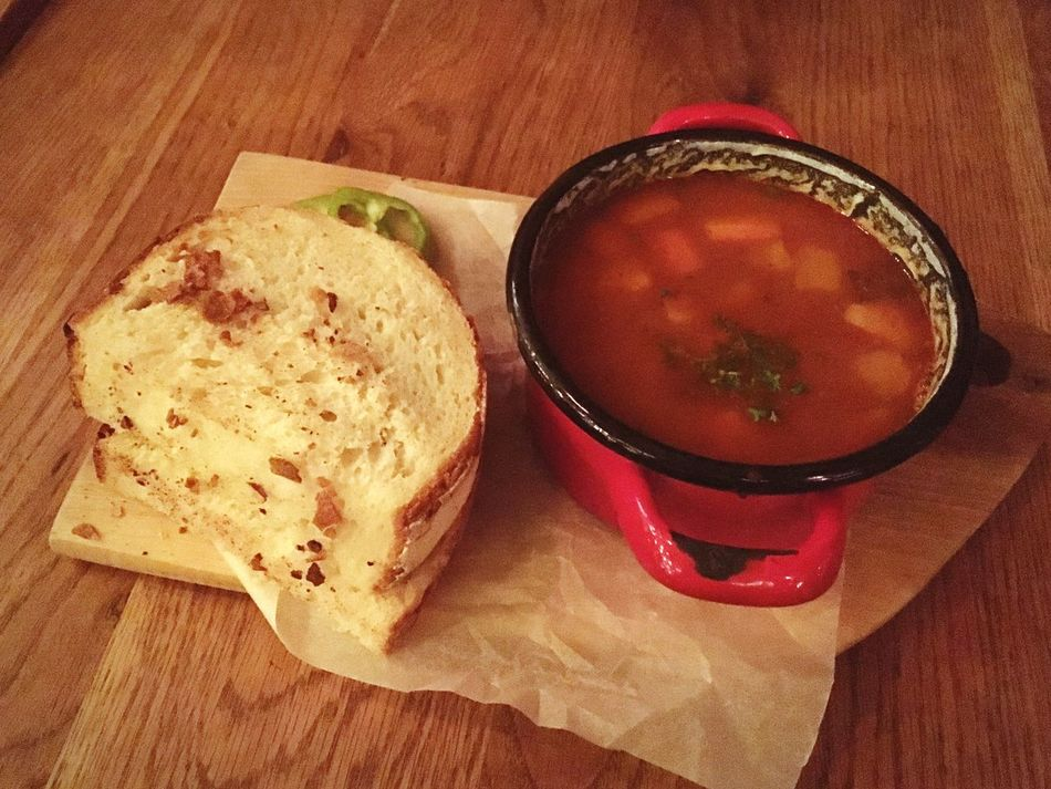 Goulash Soup Gulyás Hungarian Hungarian Food Hearty Food Soup And Bread Bread Hearty Meal Food Freshness Table Ready-to-eat No People Indoors  Close-up Comfort Foods