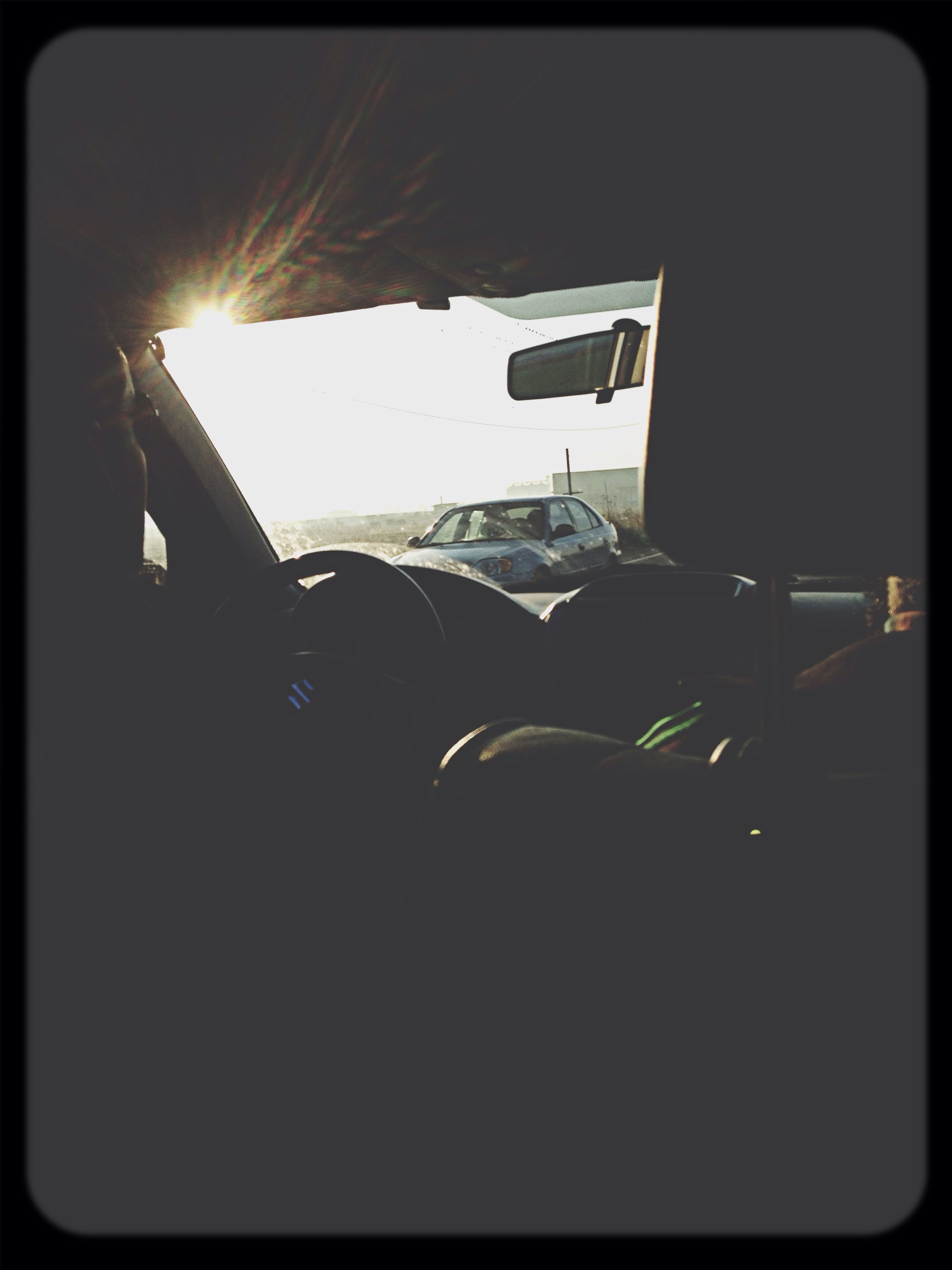 transfer print, transportation, mode of transport, auto post production filter, car, land vehicle, vehicle interior, silhouette, travel, sunlight, sun, sky, dark, indoors, airplane, no people, air vehicle, lens flare, sunset