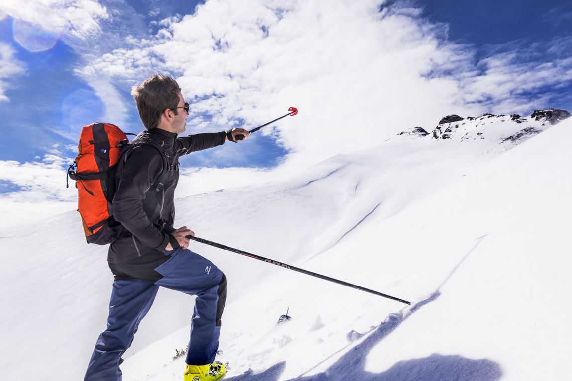 Adventure Alpinism Cloud - Sky Cold Temperature Day Full Length Fun Mountain One Person Outdoors Real People Ski Holiday Sky Snow Sport Touring Ski Warm Clothing Winter
