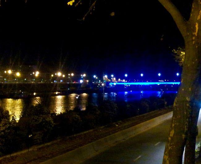 Bridge Illuminated Light And Shadow Lights In The City Night Night Lights Pont Guillaume Le Conquérant Rouen , France Reflections And Water Riverside Rouen, France