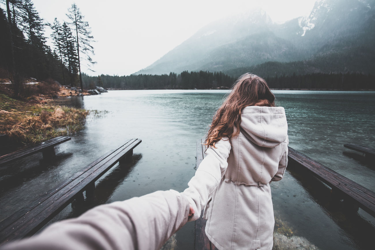 Adult Adults Only Beauty In Nature Couple Day Girl Hand Hand Holding Hintersee Holding Holding Hands Lake Lake View Lakeshore Lakeside Lakeview Mountain Nature Outdoor Photography Outdoors People Pier Tree Water Woman