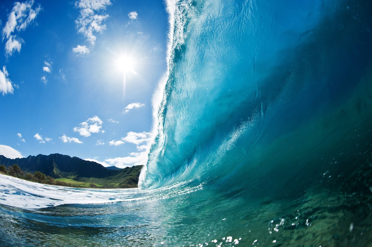 Blue Wave Hawaii, Surf, Wave, Underwater, Tube, Tsunami