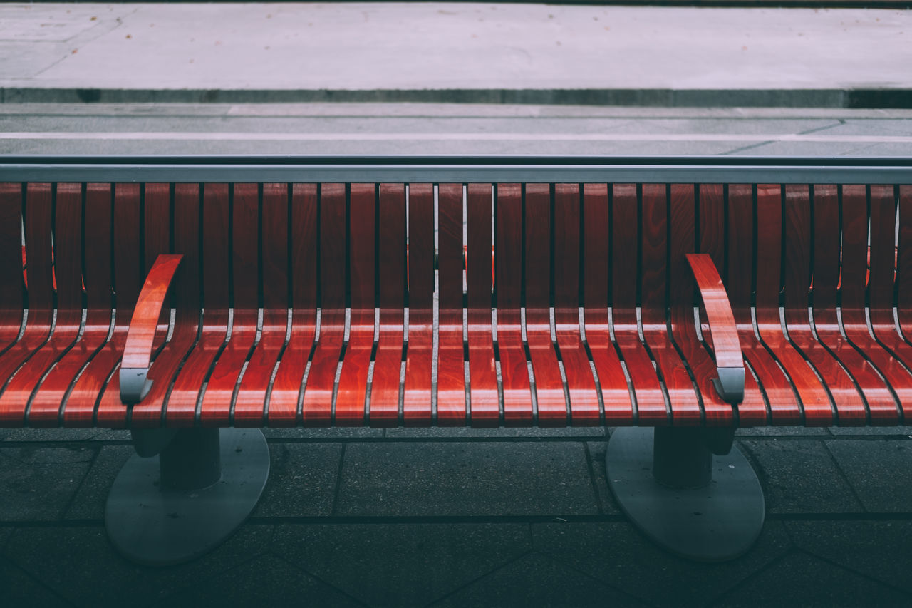 bench Bench Close-up Dark Day Mood No People Out Outdoors Red Relax Shadows Train Trainstation