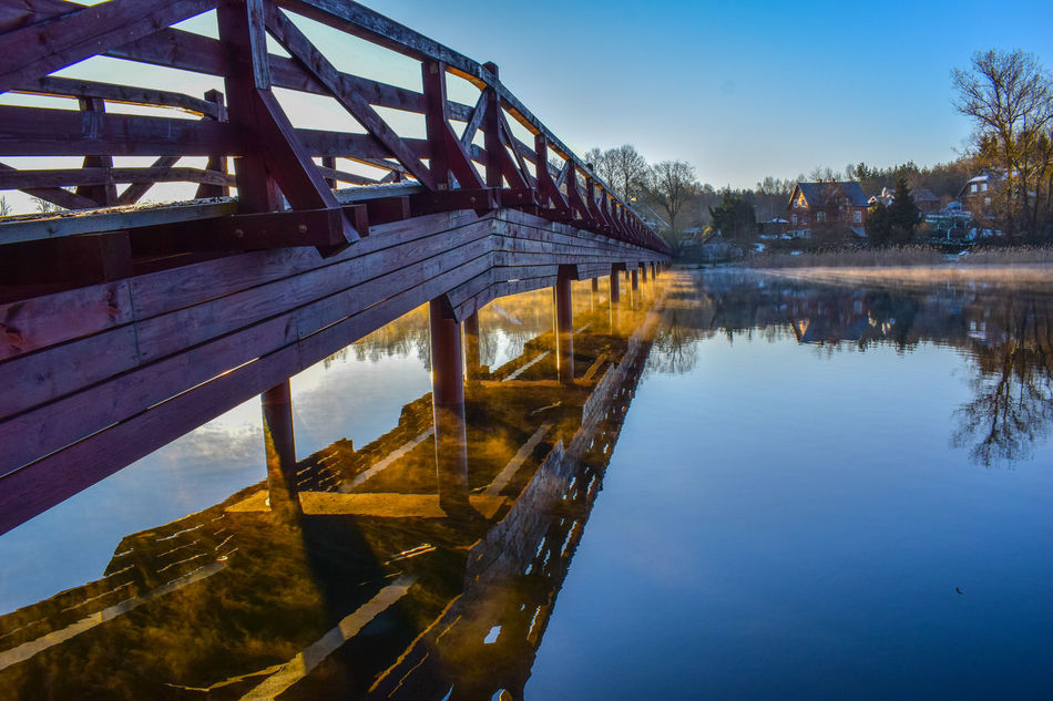 Morning View Bridge View Water Reflection Sky Lake Blue Landscape Beauty In Nature Reflection Sunlight Clear Sky Foggy Lake