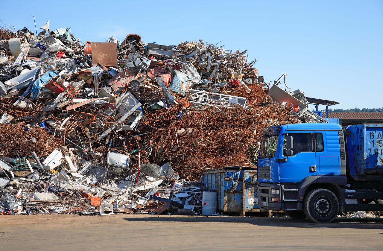 Pile of different metal scrap metal in a recycling company Adults Only Day Land Vehicle Mode Of Transport No People Outdoors Recycling Company Scrap Scrap Metal Scrapyard Sky Transportation