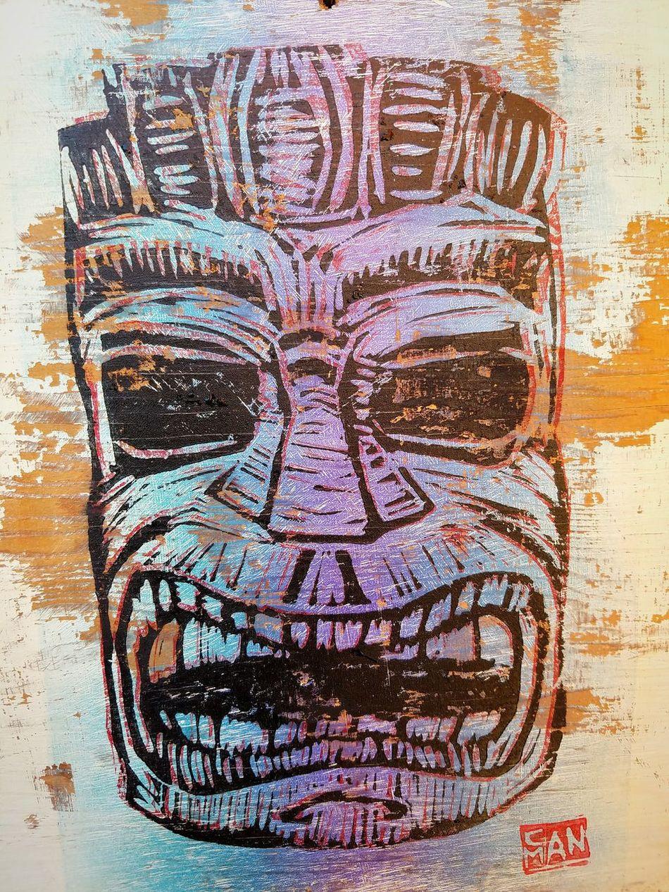 Tiki God Print Tiki Tiki Bar Tiki God Canman Show Studio Faded Iowa Cedar Rapids Canman Check This Out My Artwork
