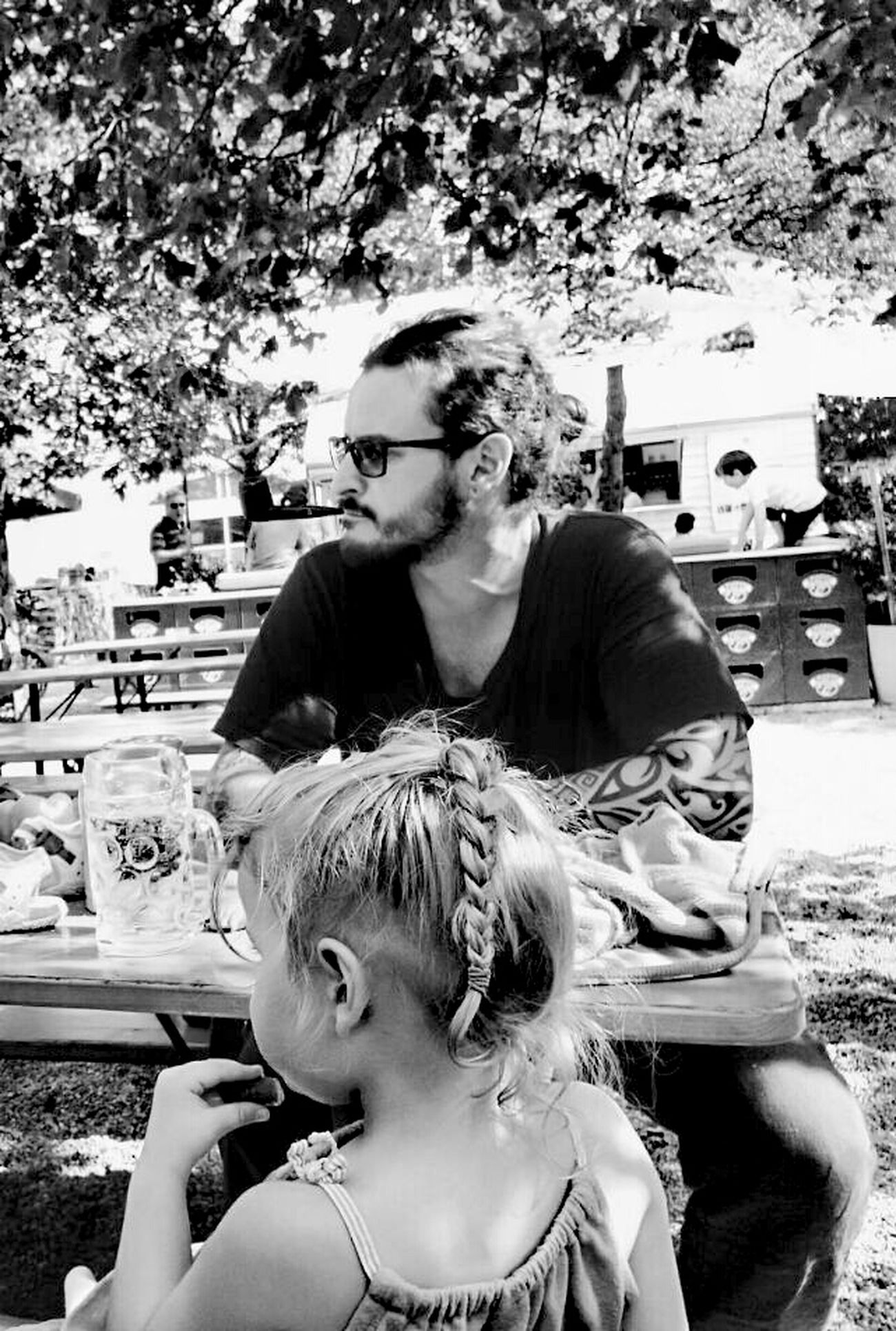 Child Girls Childhood Two People Tattoo Check This Out Day Real People Sitting Boys Outdoors Togetherness Children Only Females Happiness Human Body Part Young Adult Young Women Black And White Father And Daughter Vater Und Tochter Schwarz Und Weiß Eyeemphotography EyeEm Gallery Germany