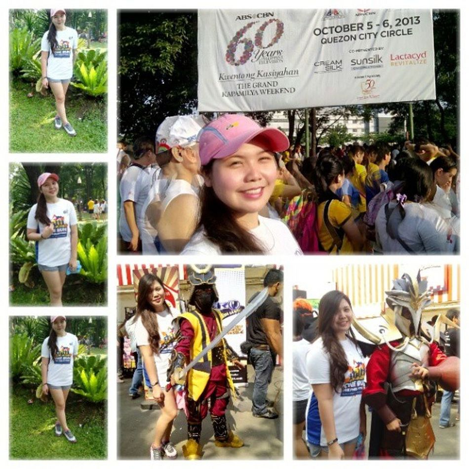 Photo yesterday morning at qcmc Kapamilya60years Funrun Onerun Enjoy funtired 3klongrun selfie igers instapic instamag cosplay ninja abscbn trees green