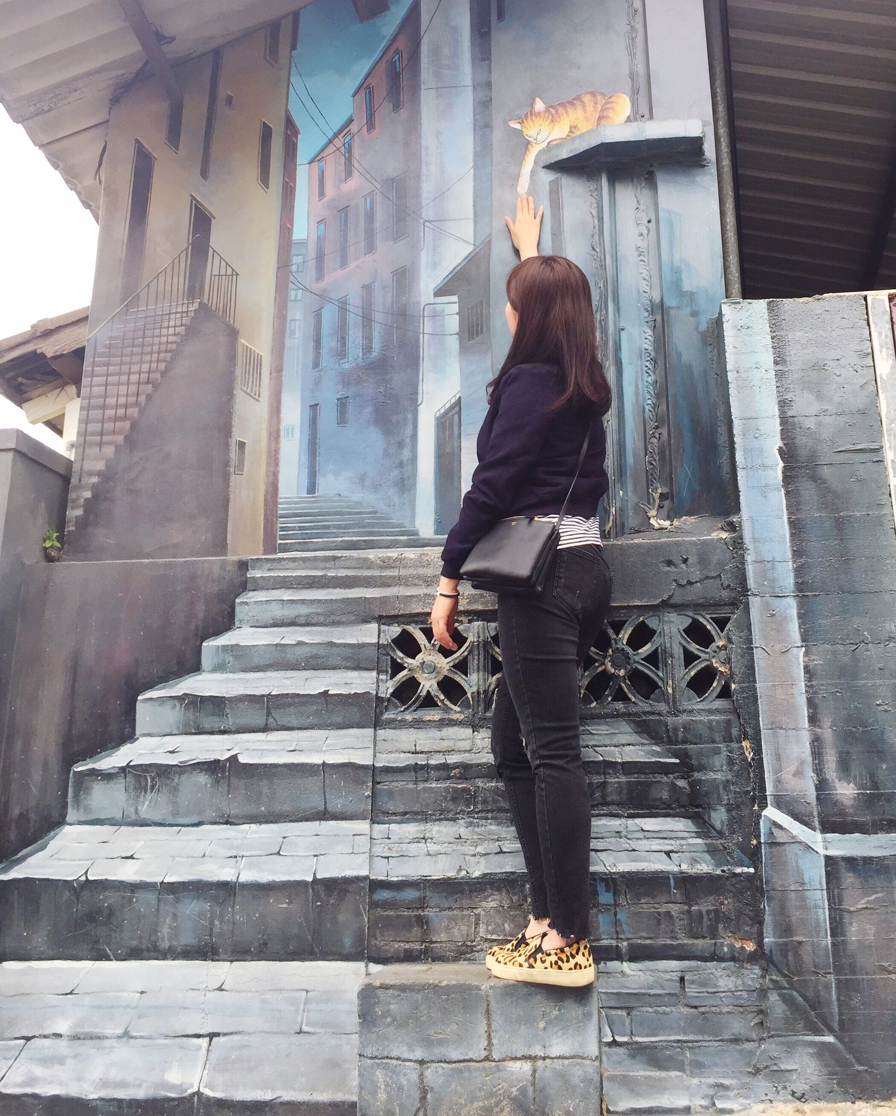 one person, full length, rear view, adult, people, staircase, steps, adults only, steps and staircases, women, young adult, young women, beauty, outdoors, one woman only, city, only women, day, architecture