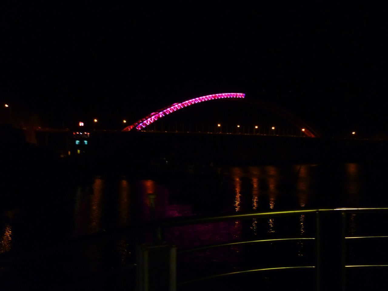 night, illuminated, bridge - man made structure, outdoors, connection, arts culture and entertainment, architecture, no people, built structure, multi colored, city, sky