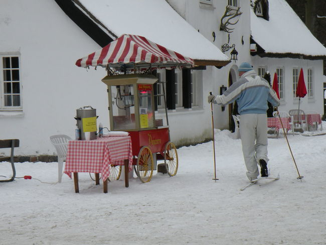 Winter Cold Temperature Snow Day Outdoors Adults Only Adult People Man Male Warm Clothing Ski Skiing Cafe Outdoor Cafe RestaurantDanish House Old House Jægersborg Dyrehave Dyrehaven Danmark Peter Liep Peter Lieps Hus Peter Liep's House - in Jægersborg Deer Park in Klampenborg, Denmark