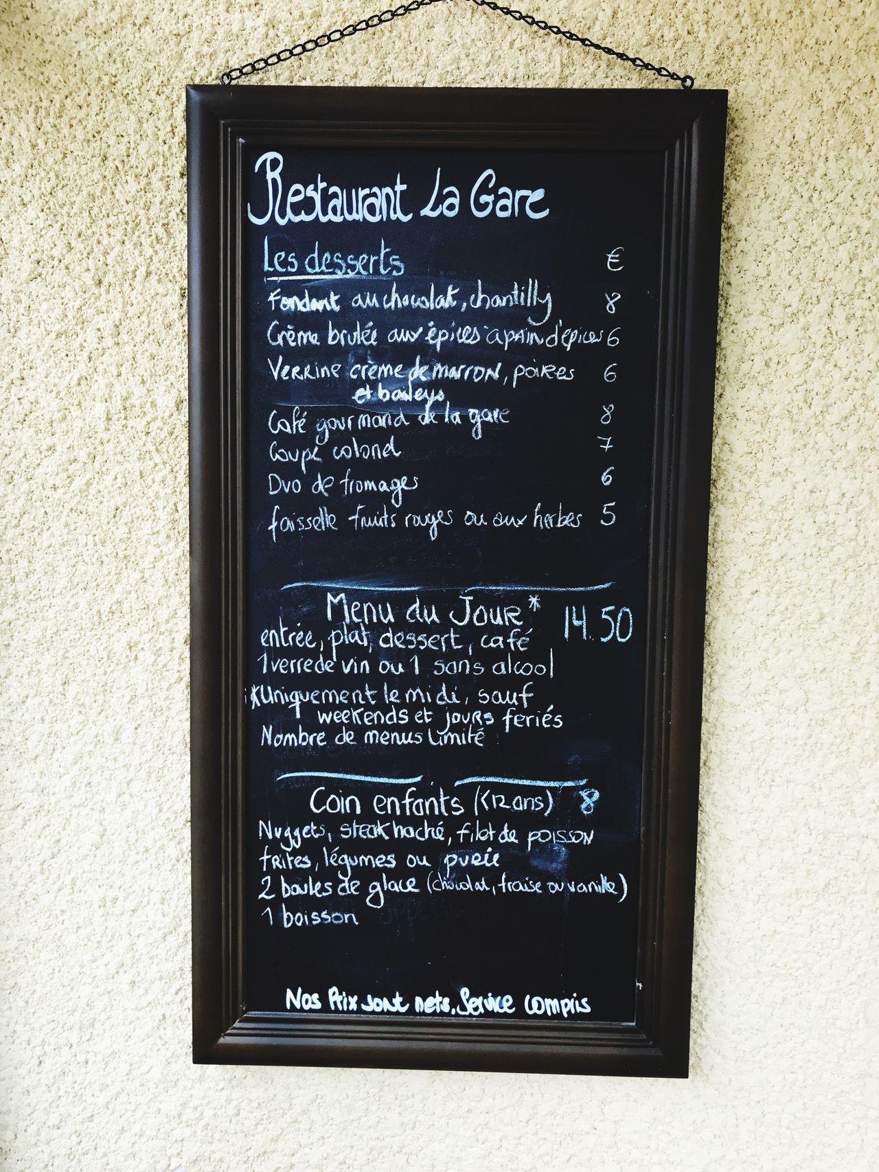 Menu French Restaurant