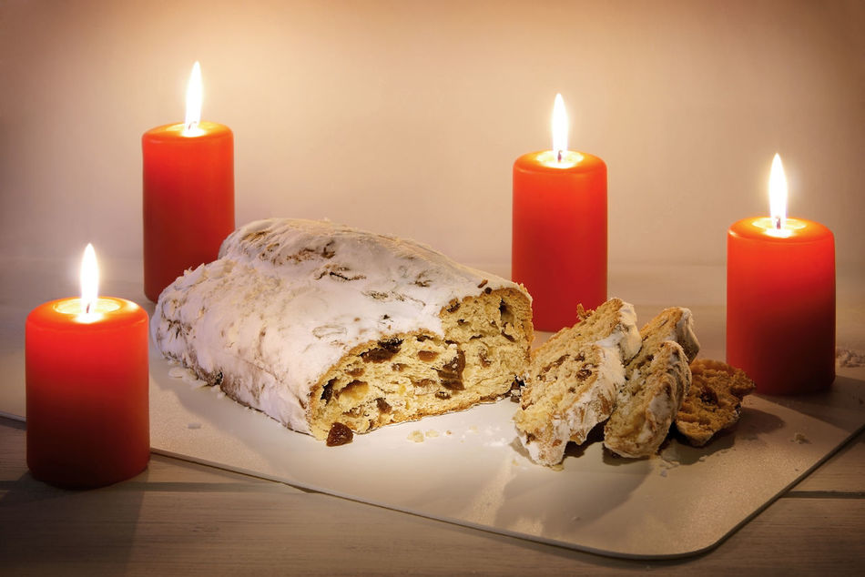 Stollen = German christmas cake Advent Candle Candlelight Christmas Christmas Decoration Christstollen Food Fruit Bread Fruit Cake  German Germany Loaf No People Stollen Sweet Food Traditional Xmas