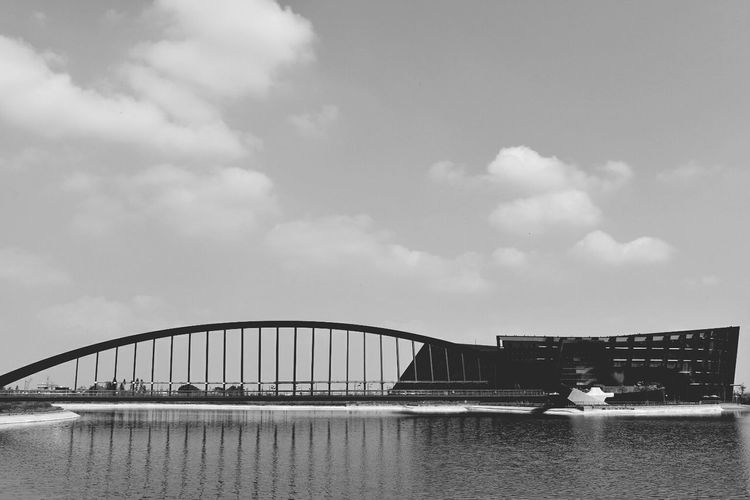 Southern Branch of the National Palace Museum. Outdoors Day Sky Museum Clouds Taiwan Strusture Building Bridge Taiwanese Scene Water Lake View Architecture Black And White