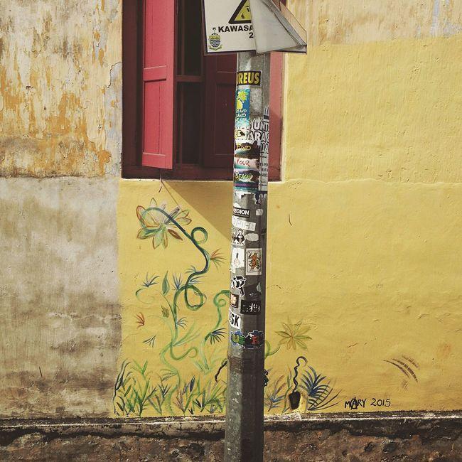 Sunshine Yellow Brick Wall Yellow Paint Yellow My Unique Style Streetphotography Penang Malaysia Window Street Pole Graffiti Graffiti Art Street Stickers Red Shutters Window Shutter
