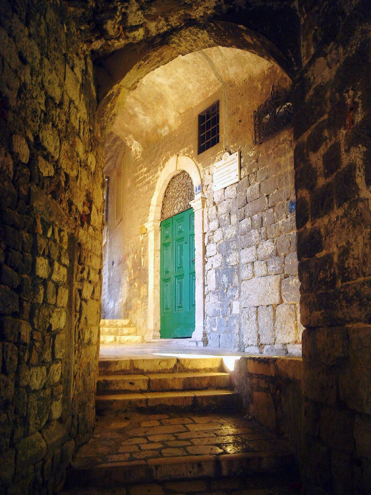 Doors Green Doors Green Color Old Town Croatia Sibenik Stone Walls Sunlight, Shades And Shadows Visiting Historic