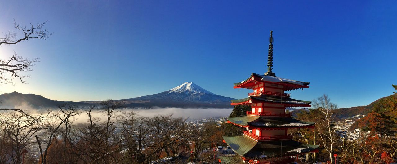 Cureito Pagoda and Mount Fuji,Panorama. Mountain Blue Clear Sky No People Outdoors Landscape Nature Scenics Sky Beauty In Nature Day Flag