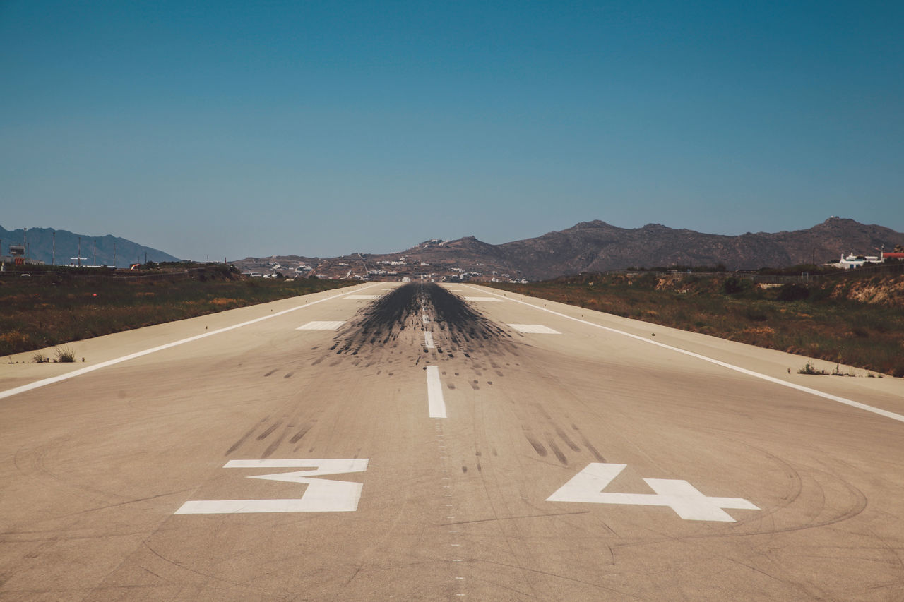Beautiful stock photos of greece, Airfield, Airport Runway, Blue, Clear Sky