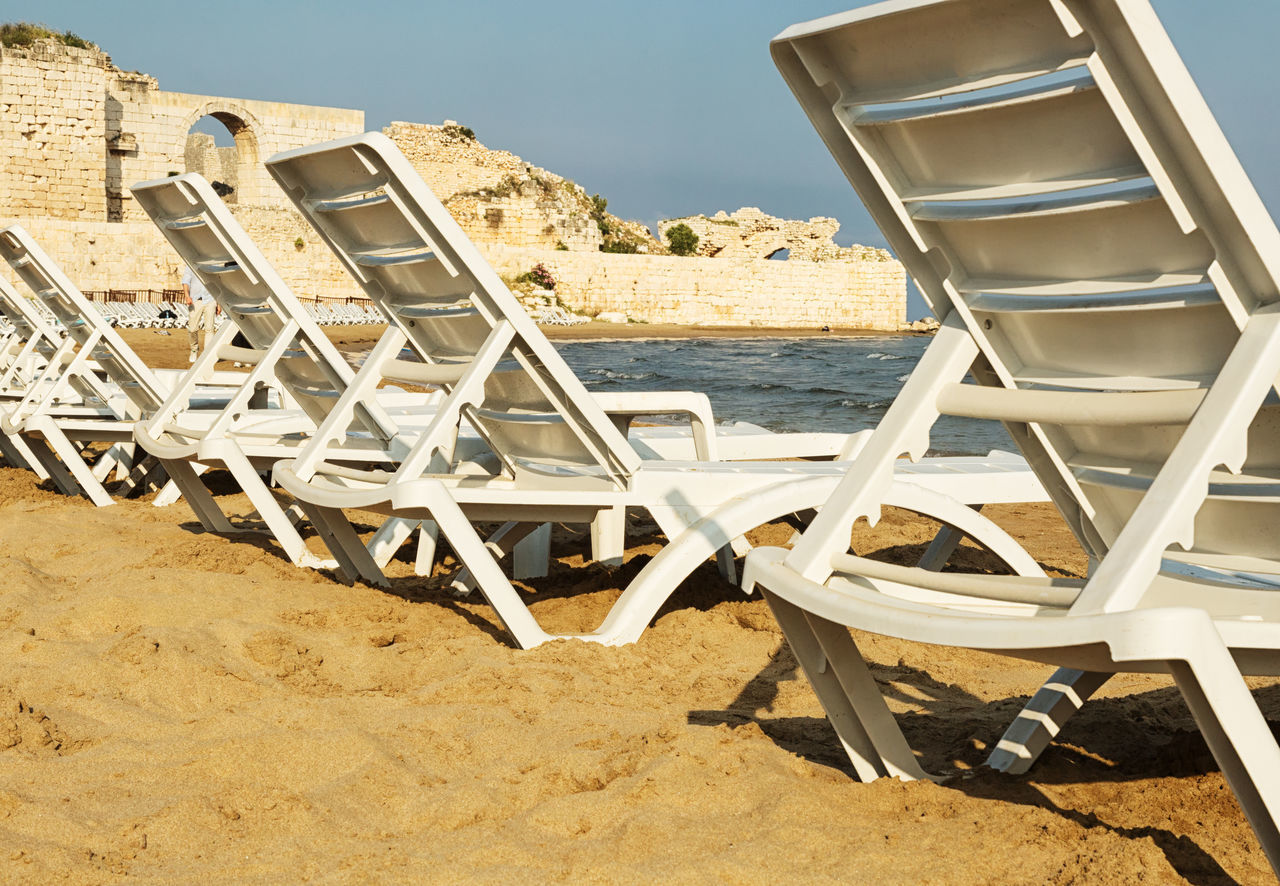 Mediterranean Sea Beach Beach Chairs Beauty In Nature Chair Day Mediterranean  Mediterranean Sea Mersin Turkey Nature Outdoors Sand Sea Shorelines Tranquil Scene Tranquility Turkey Water Waterfrontview